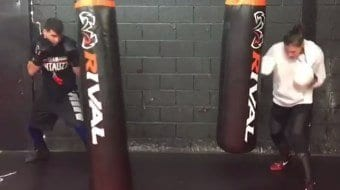 Boxing Training On Long Bags